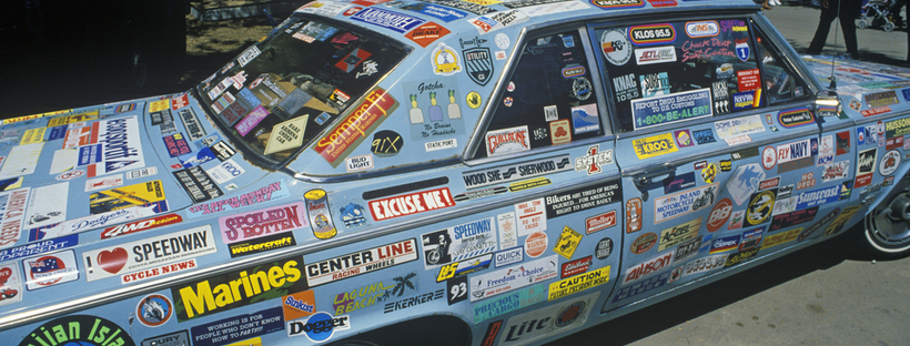 Car covered in stickers